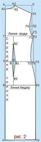 Построение выкройки заднего полотнища спинки без плечевой вытачки